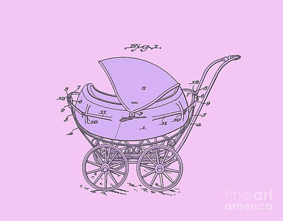 Digital Art - Patent Baby Carriage 1923 Froman Purple Pink by Lesa Fine