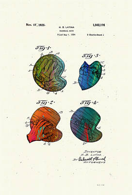 Mitts Digital Art - Patented Drawing Of A Baseball Mitt 1924 by Marlene Watson