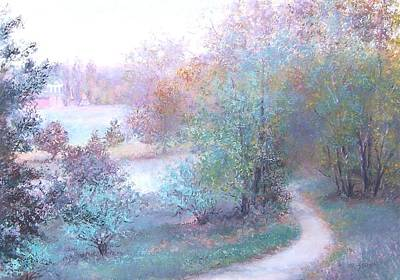 Landscape With Creek Painting - Path By The River by Jan Matson