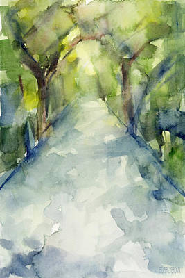 Brown Abstract Painting - Path Conservatory Garden Central Park Watercolor Painting by Beverly Brown Prints