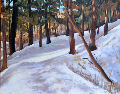 Painting - Path In The Winter Woods by Joan McGivney