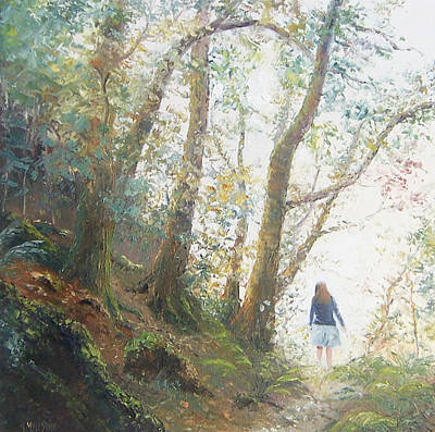Girl In Landscape Painting - Path In The Woods by Jan Matson