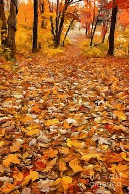 Path Of Fallen Leaves Art Print by Edward Fielding