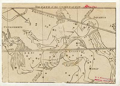 Path Of Halley's Comet Art Print by Art And Picture Collection/new York Public Library
