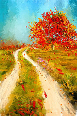 Maple Leaf Art Painting - Path To Change- Autumn Impressionist Painting by Lourry Legarde