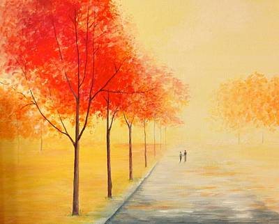 Abstract Realist Landscape Painting - Path To Happiness by Jean Tatton Jones