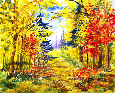 Maple Leaf Art Painting - Path To The Fall by Irina Sztukowski