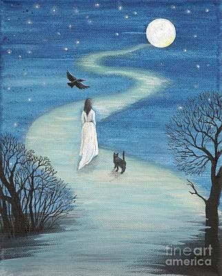 Path To The Moon Art Print by Margaryta Yermolayeva