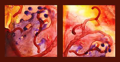 Path To The Unknown Warm Diptych  Print by Irina Sztukowski