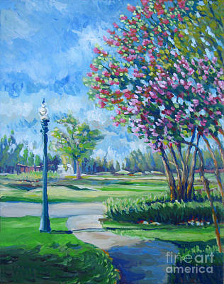 San Joaquin Painting - Path With Flowering Trees by Vanessa Hadady BFA MA