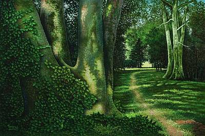 Art Print featuring the painting Pathway Through The Sycamores by Michael Frank