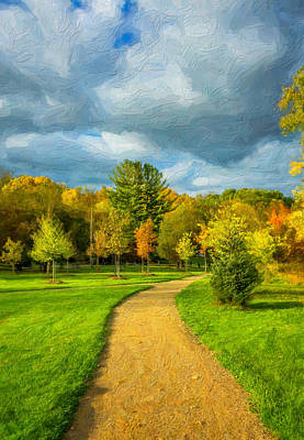 Path Photograph - Pathway To Autumn Impasto by Steve Harrington