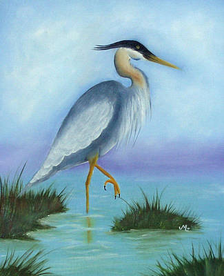 Patience Blue Heron Art Print by Mary Gaines