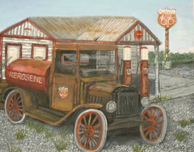 Service Station Painting - Patina by Larry Lamb