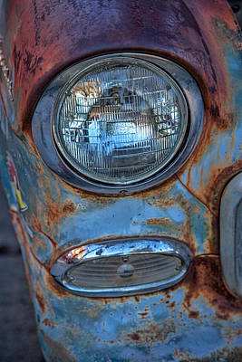 Antique Automobile Photograph - Patinaed Headlight by Peter Tellone