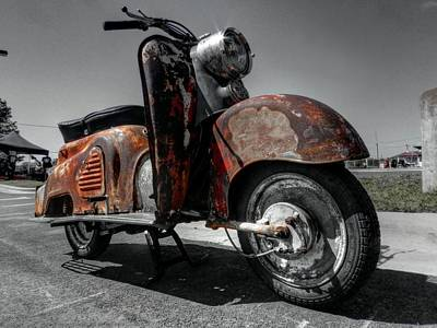 Photograph - Patinated Zundapp Bella Scooter 001 by Lance Vaughn