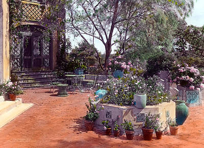 Realistic Painting - Patio And Flower Pots by Terry Reynoldson