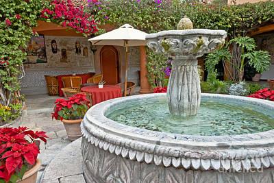 Patio And Fountain Art Print by Richard & Ellen Thane