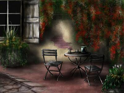 Painting - Patio Garden by Ron Grafe