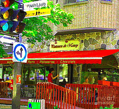 Montreal Streetscenes Painting - Patisserie De Nancy Bakery French Style Cafe Monkland Ndg Montreal Street Scenes Carole Spandau by Carole Spandau