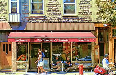 Painting - Patisserie Les Saveurs Du Plateau Pique Nique Et Emporter Montreal Cafe Scene Art By Carole Spandau  by Carole Spandau