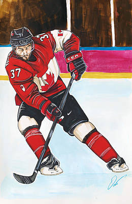 Olympic Hockey Drawing - Patrice Bergeron Of Team Canada by Dave Olsen