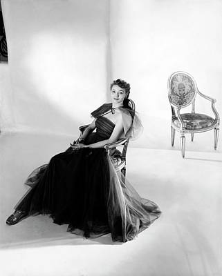 1940s Fashion Photograph - Patricia Neal Wearing A Tulle Dress by Horst P. Horst