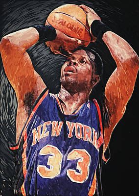 Georgetown Digital Art - Patrick Ewing by Taylan Apukovska