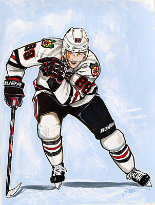 Nhl Hockey Drawing - Patrick Kane Of The Chicago Blackhawks by Dave Olsen