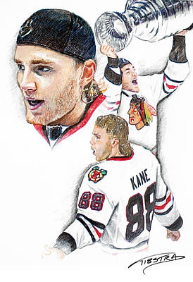 Chicago Blackhawks Drawing - Patrick Kane - The Moment by Jerry Tibstra