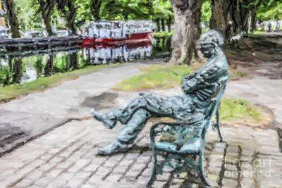 Ireland Digital Art - Patrick Kavanagh The Crank On The Bank by Liz Leyden