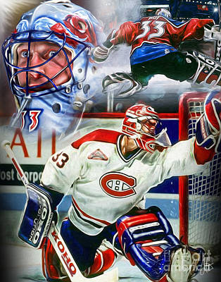 Montreal Canadiens Painting - Patrick Roy Collage by Mike Oulton