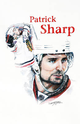 National Hockey League Drawing - Patrick Sharp - The Cup Run by Jerry Tibstra