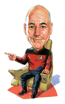Caricature Painting - Patrick Stewart As Jean-luc Picard by Art