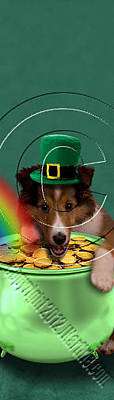 Mixed Media Of Dogs Digital Art - Patrick's Day Sheltie #384 by Jeanette K