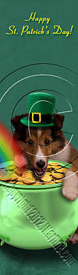 Mixed Media Of Dogs Digital Art - Patrick's Day Sheltie Puppy # 383 by Jeanette K