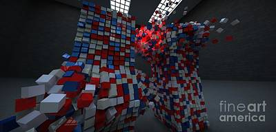 Digital Art - Patriot Blox by William Ladson