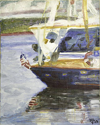 Painting - Patriot Boat by Mary LaFever