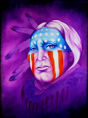 Native Portraits Painting - Patriot by Robert Martinez