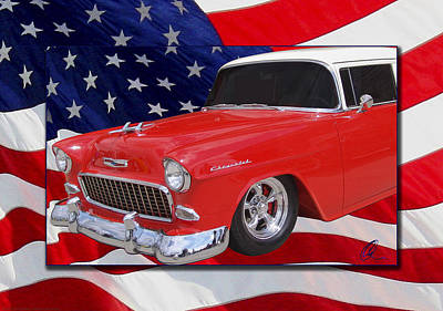 Photograph - Patriotic 55 Chevy by Chris Thomas