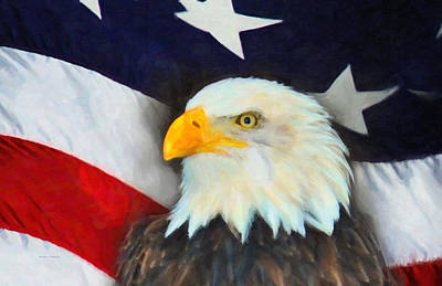 Patriotic American Flag And Eagle Art Print by Kenny Francis