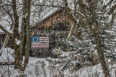 Rural Landscape Photograph - Patriotic Barn by Michael Allen