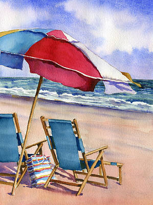 4th July Painting - Patriotic Beach Umbrellas by Beth Kantor