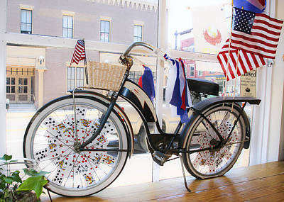 Patriotic Bicycle Art Print by Cindy Archbell