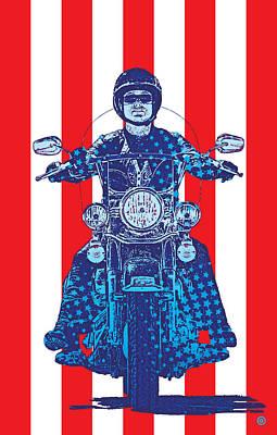 Digital Art - Patriotic Cycle Rider by Gary Grayson