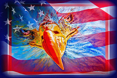Mixed Media - Patriotic Eyecon by Donna Proctor
