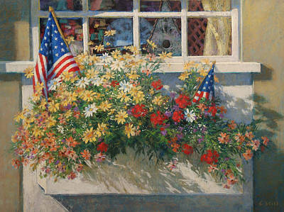 Patriotic Flower Box Original by Sharon Will