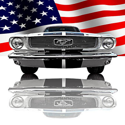 Patriotic Ford Mustang 1966 Art Print by Gill Billington