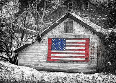 Photograph - Patriotic American Shed by Jeff Folger
