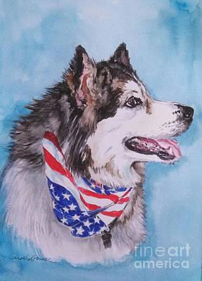 American Eskimo Dog Painting - Patriotic Joe by Carole Powell